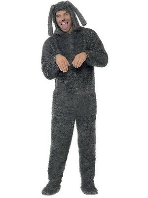 Mens Fluffy Dog Costume Furry Faux Fur Puppy Gray Jumpsuit Hoodie Mascot - Mens Dog Costume