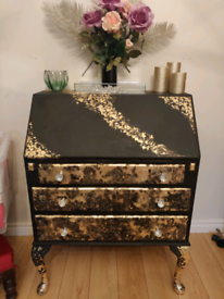 Stunning upcycled antique writing beauro with gold leaf