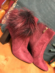 Cape Robbin- Wine Faux Fur Bernice Boot
