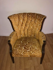 Golden damask-style gorgeous retro chair.  Downtown pick up.