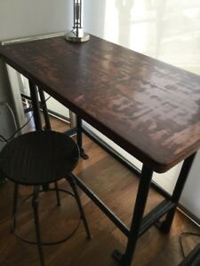 Industrial Mahogany Desk and Antique Swivel Stool for Sale