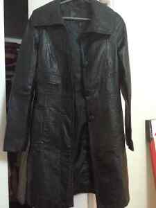 Black leather knee length jacket Kitchener / Waterloo Kitchener Area image 1