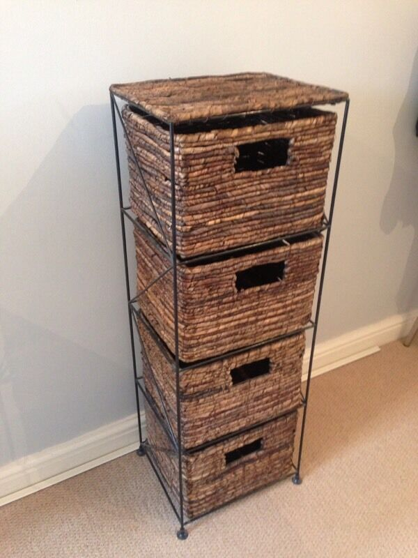 Rattan wicker tall chest of drawers in portishead