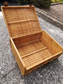 Vintage Wicker & Plywood Suitcase / Picnic Basket