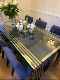 Eichholtz Dining Table in glass and chrome