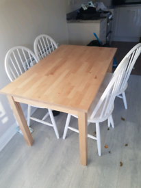 Wooden Dining table and 4 white chairs