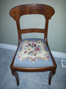 Chair - Needlepoint seat $65.00.  Cash only and pick up only.