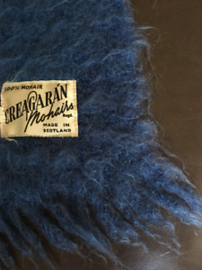 Gorgeous 100% Mohair Blanket, Made in Scotland, Deep Blue