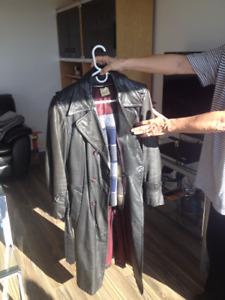 Manteau de cuir suède 38 doublé