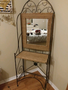 Antique wicker vanity