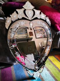 Baroque style ornate heart mirror