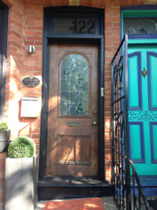 Vintage Wood Front Door with Stained Glass for Sale