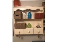 3 drawer painted pine wall unit