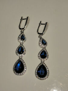 Beautiful Blue Pear Cut Swarovski Diamond Earrings