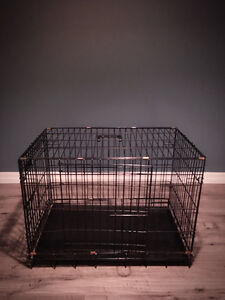 PET lodge double door wire crate in black