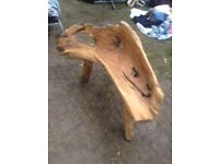Small teak root bench
