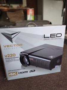 *NEW* VECTOR V220 4K 3D Projector + Glasses + Screen + Cables
