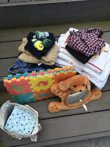 Mixed bag of baby things and baby boy clothes