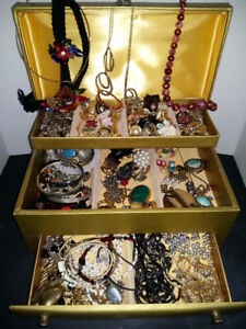 Vintage Gold Vinyl Jewellery Box Filled with Treasure!