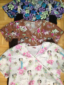 3 Betty Boop Scrub tops size small