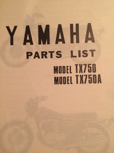 1973 1974 Yamaha TX750 Parts Book Regina Regina Area image 2
