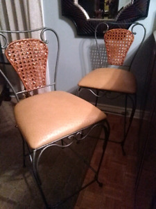 Cuir veritable leather bar stools tabouret chaise haute chair