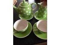 Lime green and white tea set