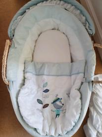 Mamas and papas moses basket with blue covers