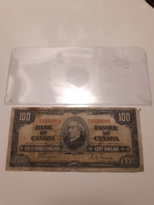 1937 CANADIAN $100 BILL/NOTE;
