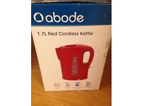 Abode red cordless kettle new in box
