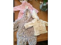 Baby girl coat snowsuit bundle 0-3 3-6 months