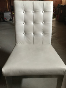 5 white leather dinning chairs