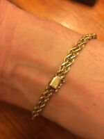 HEAVY 14k solid gold Monogramed Bracellet 9 INCHES LONG