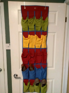 Fabric over-the-door shoe holder