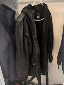 Y-3 Adidas hooded leather jacket M
