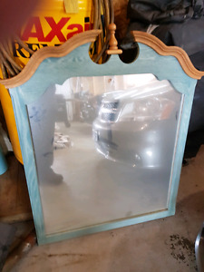 Teal Real Oak Dresser Mirror with hardware