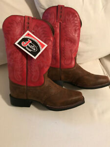NEW WOMENS JUSTIN LEATHER WESTERN BOOTS Size 7-8
