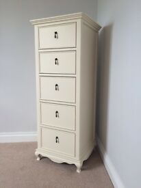 REDUCED Solid Wood 5 Drawer Tallboy (Schrieber Longburton)