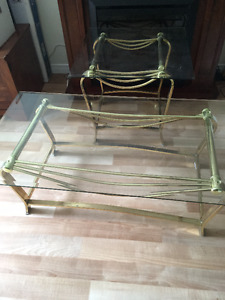 Coffee table + end table (brass+glass) - Negotiable