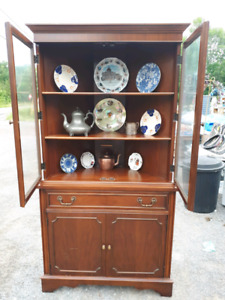WOOD CORNER CHINA CABINET & 2 WOOD DINING TABLES