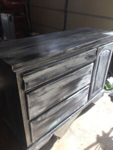 FAUX RUSTIC BARNWOOD FINISH SIDE TABLE AND DRESSER