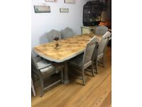 Hand painted shabby chic dining table and 6 chairs