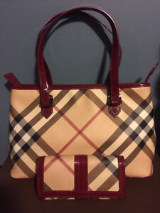 Real Burberry Tote Purse and Wallet