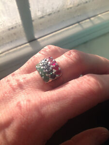 Genuine SAPPHIRE, RUBY, and EMERALD Ring!! Size 8