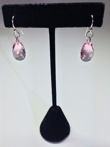Sterling Silver Swarovski Crystal Earrings - Light Rose