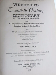 Webster's Dictionary, 1937, 20th Century Unabridged West Island Greater Montréal image 5