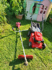 Einhell petrol mower and strimmer set with brush cutter