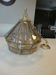 Smoked leaded Glass Style Hanging Light Fixture - Great Shape Kitchener / Waterloo Kitchener Area image 7