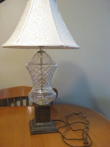 VINTAGE GLASS AND BRASS LAMP