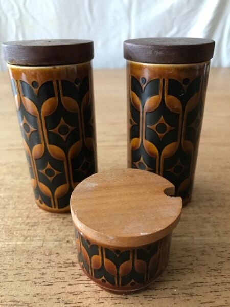 Hornsea Heirloom Brown Pottery Salt, Pepper and mustard containers
